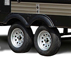 Lionshead nitro-filled tires improve safety, tire life and fuel economy. Grey steel rims, Super Lube axles, ABS molded fender skirts – all standard.