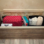 Easy to lift under bed storage with finished edge trim is ideal for linens and big items